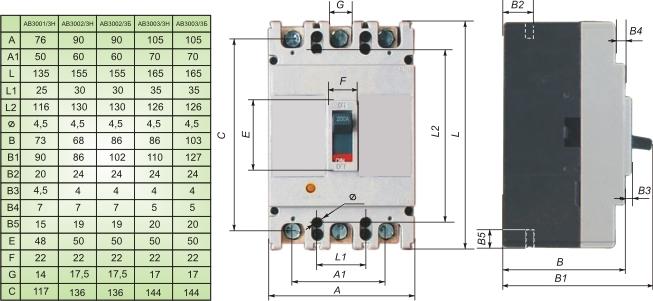 Габаритные и установочные размеры, время-токовые характеристики выключателей АВ3001...АВ3003