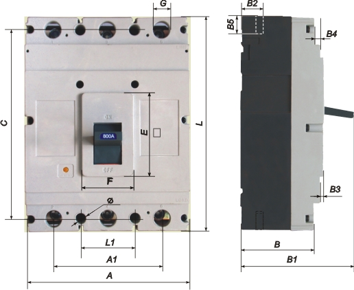 Габаритные и установочные размеры, время-токовые характеристики выключателей АВ3005Б...АВ3006