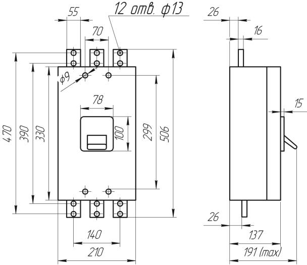 Габаритные и установочные размеры, время-токовые характеристики выключателей АВ3008
